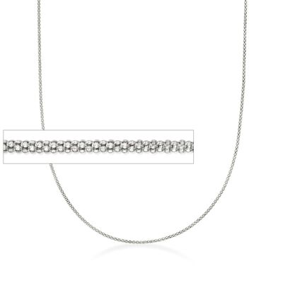 1.2mm 14kt White Gold Adjustable Popcorn Chain Necklace, , default