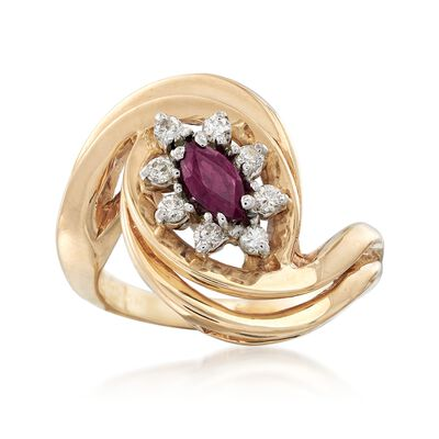 C. 1980 Vintage .25 Carat Ruby and .20 ct. t.w. Diamond Swirl Ring in 14kt Yellow Gold, , default