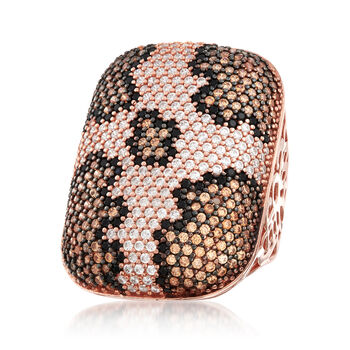 3.30 ct. t.w. Multicolored CZ Leopard Print Ring in 18kt Rose Gold Over Sterling. Size 5
