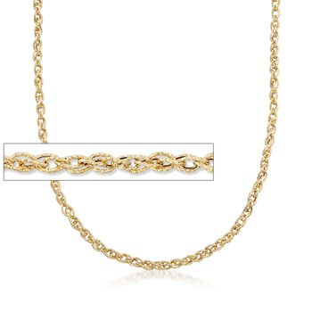 18kt Yellow Gold Textured Rope-Link Necklace