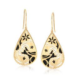 Italian 14kt Yellow Gold and Black Enamel Drop Earrings, , default