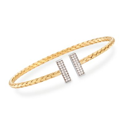 "Charles Garnier ""Bella"" .30 ct. t.w. CZ Cuff Bracelet in Two-Tone Sterling Silver, , default"