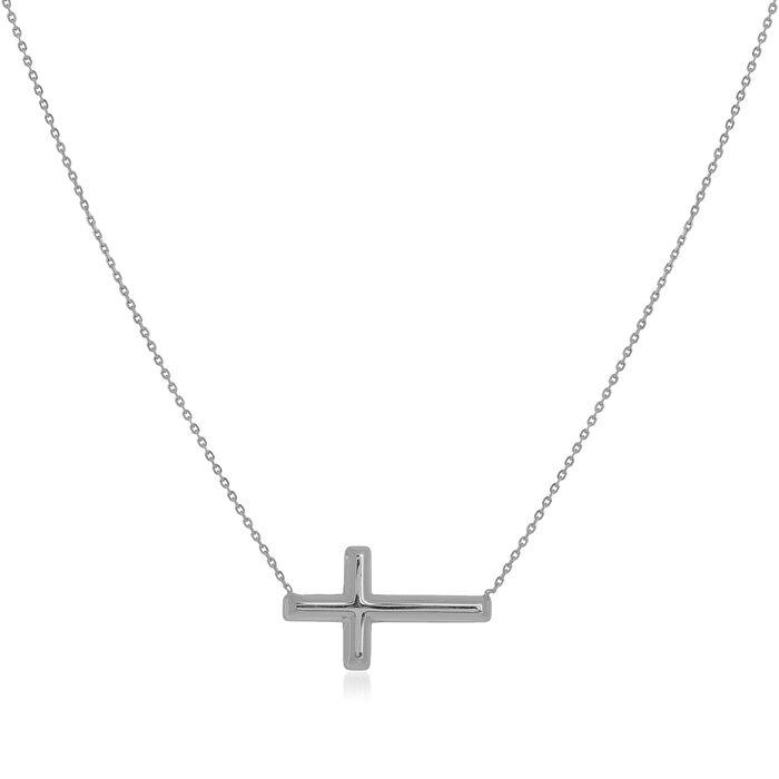 14kt White Gold East-West Sideways Cross Necklace
