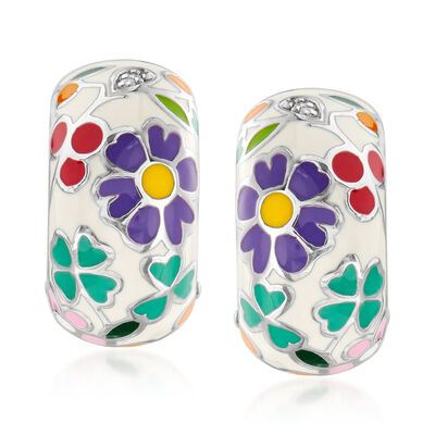 Belle Etoile Flower Garden Enamel Drop Earrings in Sterling Silver