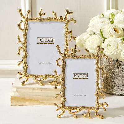 Set of Two Golden Coral Photo Frames, , default