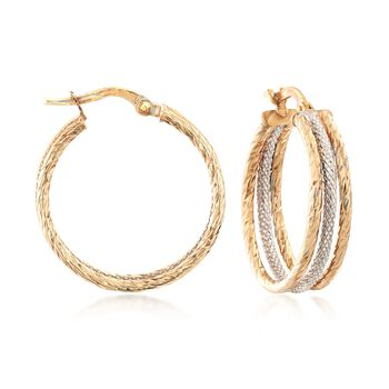 """Italian 14kt Two-Tone Gold Triple-Hoop Earrings. 7/8"""", , default"""