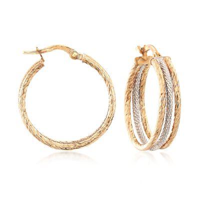 Italian 14kt Two-Tone Gold Triple-Hoop Earrings, , default