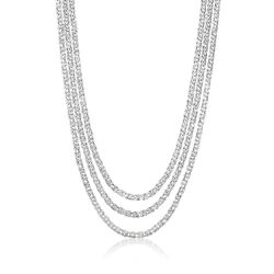 Sterling Silver Three-Strand Byzantine Necklace, , default