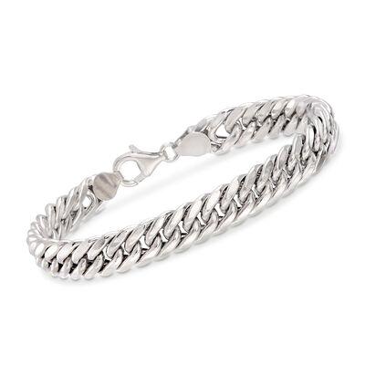 Italian 18kt White Gold Cuban-Link Bracelet, , default