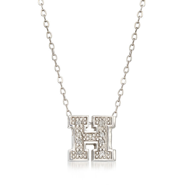 "C. 2000 Vintage Alex Woo University ""H"" Diamond-Accented Necklace in 14kt White Gold. 18"""
