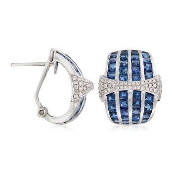 6.50 ct. t.w. Sapphire and .50 ct. t.w. Diamond Earrings in 18kt White Gold, , default