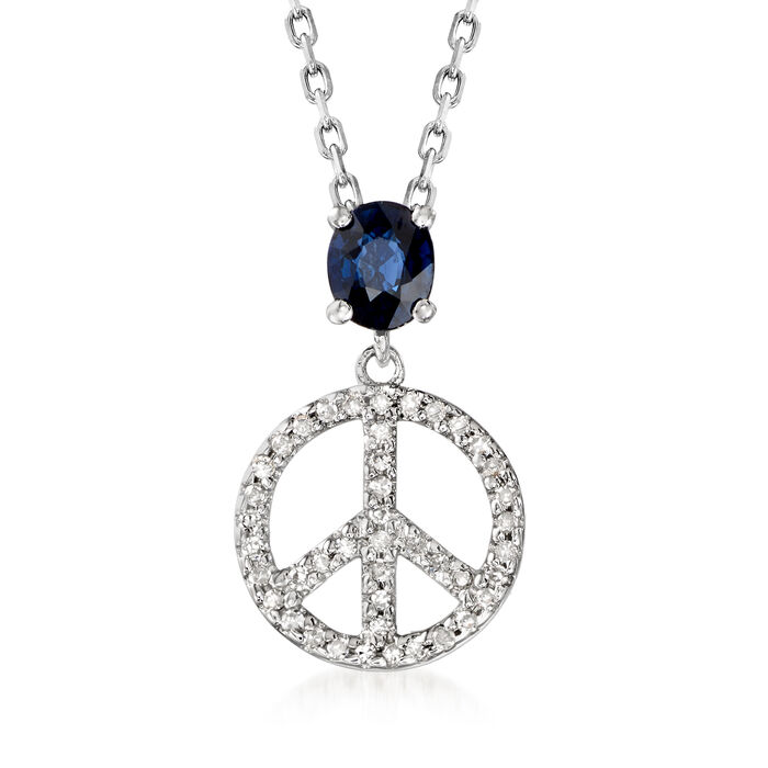 .50 Carat Sapphire and .10 ct. t.w. Diamond Peace Sign Pendant Necklace in Sterling Silver