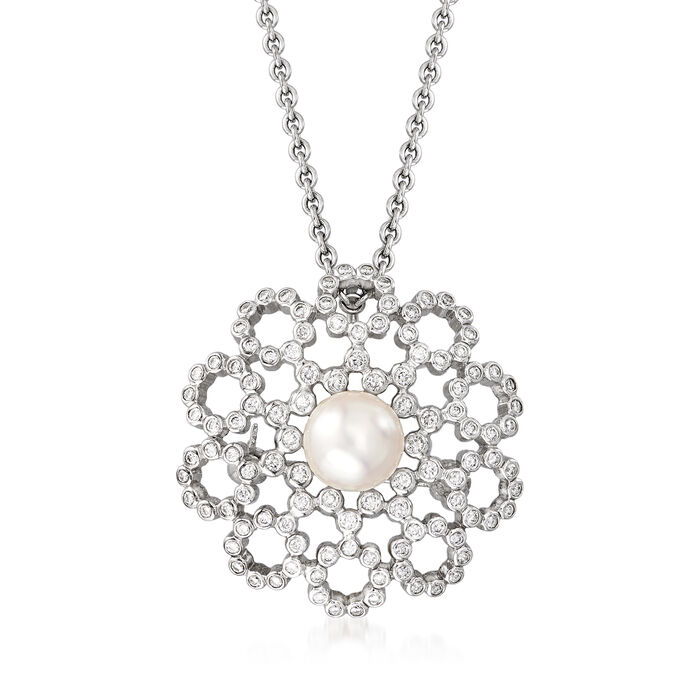 C. 1990 Vintage Mikimoto Cultured Pearl and .65 ct. t.w. Diamond Pin/Pendant in 18kt White Gold