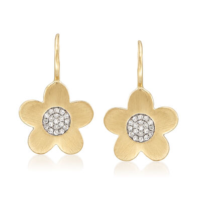.11 ct. t.w. Pave Diamond Flower Drop Earrings in 14kt Yellow Gold, , default