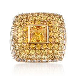 C. 1980 Vintage 4.50 ct. t.w. Yellow Sapphire and .75 ct. t.w. Diamond Dome Ring in 18kt Yellow Gold. Size 6.5, , default