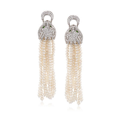 Cultured Pearl and 2.90 ct. t.w. White Topaz Panther Tassel Earrings in Sterling Silver