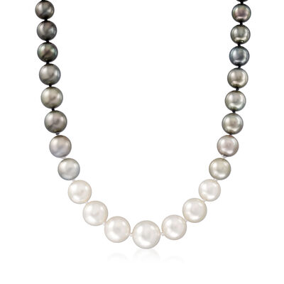12-15mm Cultured South Sea Pearl and 10-12mm Black Cultured Tahitian Pearl Necklace with 14kt White Gold