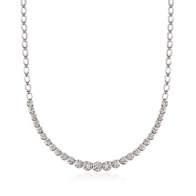 1.00 ct. t.w. Graduated Diamond Necklace in Sterling Silver, , default