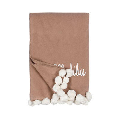 Sand and Ivory Pom Pom Throw Blanket, , default