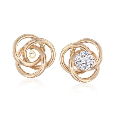14kt Yellow Gold Love Knot Earring Jackets, , default