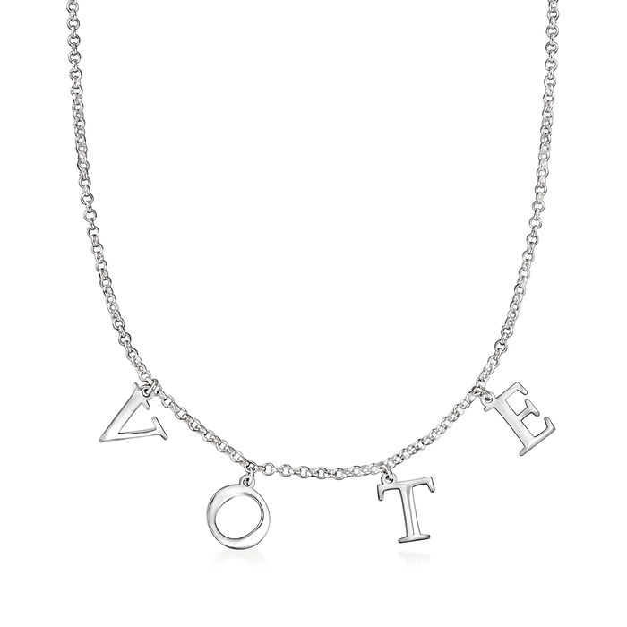 """Sterling Silver """"Vote"""" Charm Necklace"""