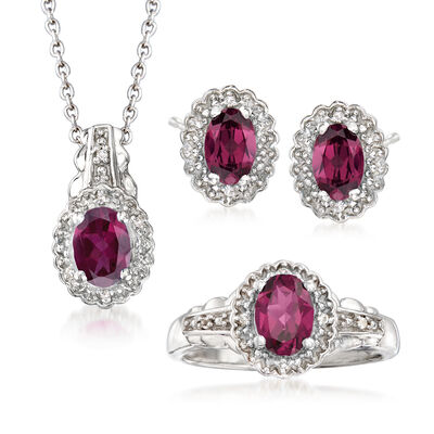 2.77 ct. t.w. Rhodolite Garnet with White Topaz Accents Jewelry Set: Necklace, Earrings and Ring in Sterling Silver