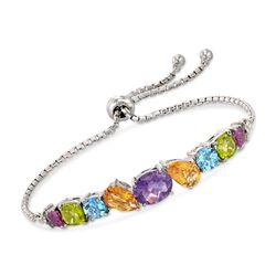 8.60 ct. t.w. Multi-Stone Bolo Bracelet in Sterling Silver, , default