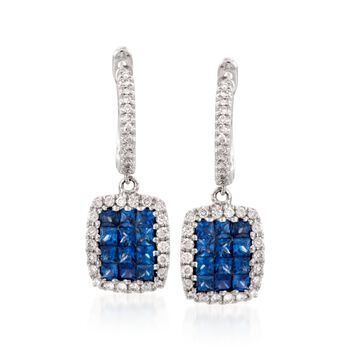 """Gregg Ruth .81 ct. t.w. Sapphire and .30 ct. t.w. Diamond Hoop Earrings in 18kt White Gold. 3/4"""", , default"""