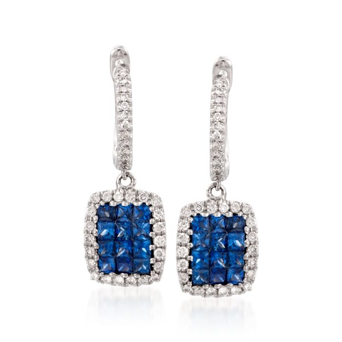 "Gregg Ruth .81 ct. t.w. Sapphire and .30 ct. t.w. Diamond Hoop Earrings in 18kt White Gold. 3/4"", , default"
