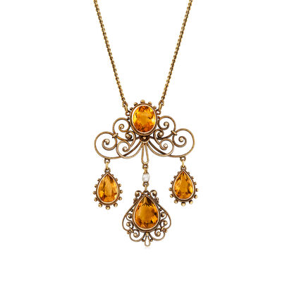 C. 1920 Vintage Cultured Pearl and 9.20 ct. t.w. Citrine Fancy Drop Necklace in 14kt Yellow Gold, , default