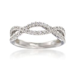 Henri Daussi .35 ct. t.w. Diamond Twisted Wedding Ring in 14kt White Gold, , default