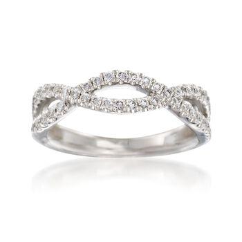 Henri Daussi .35 ct. t.w. Diamond Twisted Wedding Ring in 18kt White Gold, , default