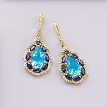 6.25 ct. t.w. Blue Topaz and 2.60 ct. t.w. Sapphire Drop Earrings with Diamonds in 14kt Yellow Gold, , default
