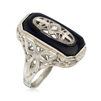 C. 1950 Vintage Black Onyx Ring With Diamond Accents in 14kt White Gold. Size 6.25, , default