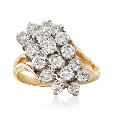 C. 1980 Vintage 2.15 ct. t.w. Diamond Cluster Ring in 14kt Yellow Gold