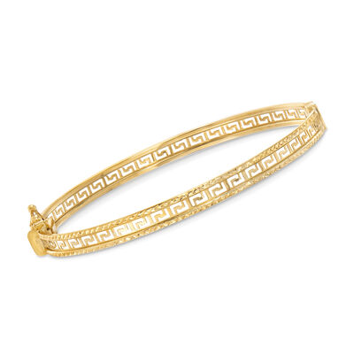 14kt Yellow Gold Greek Key Bangle Bracelet    , , default