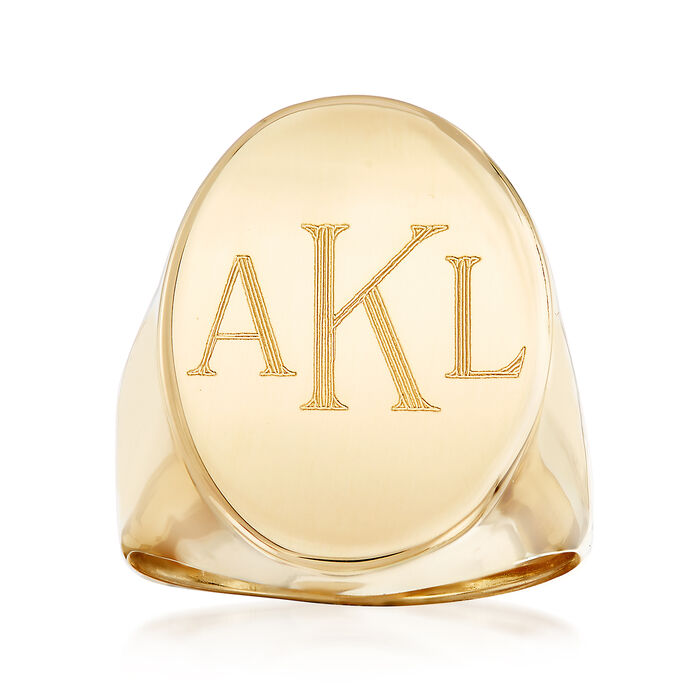 Italian 14kt Yellow Gold Oval Monogram Signet Ring, , default