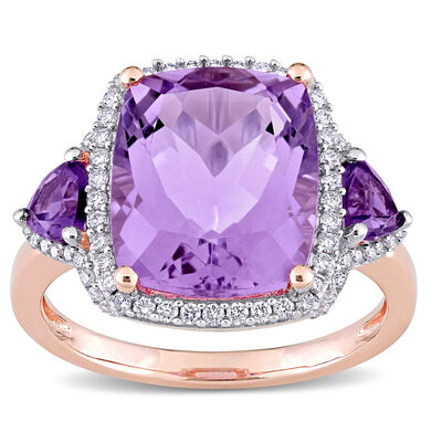 5.44 ct. t.w. Amethyst and .30 ct. t.w. Diamond Ring in 14kt Rose Gold