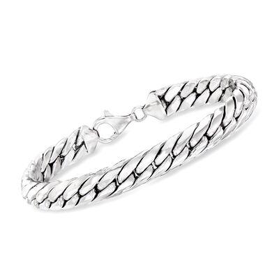 Sterling Silver Cuban-Link Bracelet, , default