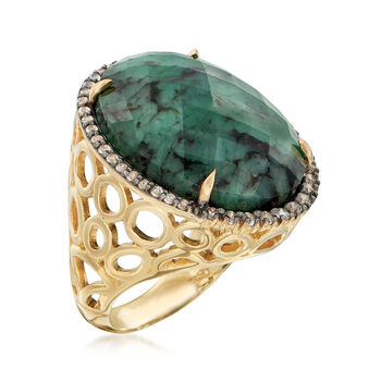 15.00 Carat Opaque Emerald and .50 ct. t.w. White Topaz Ring in 18kt Gold Over Sterling, , default