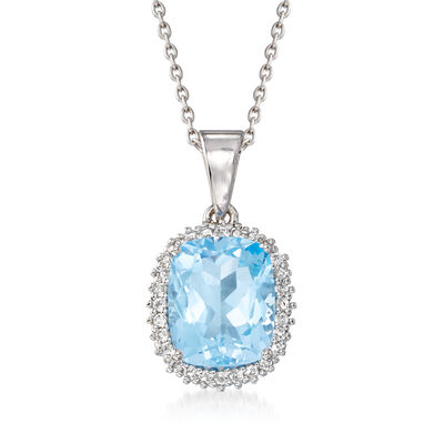 3.90 Carat Swiss Blue Topaz and .20 ct. t.w. White Topaz Pendant Necklace in Sterling Silver