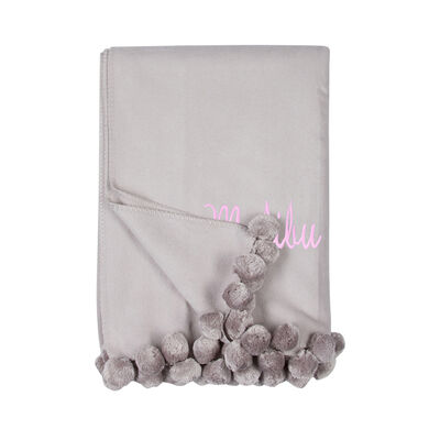 Dove Gray Pom Pom Throw Blanket, , default