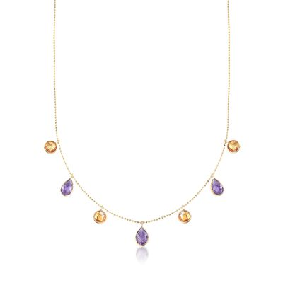4.10 ct. t.w. Amethyst and 3.40 ct. t.w. Citrine Station Necklace in 14kt Yellow Gold, , default