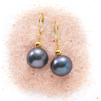 13-14mm Black Cultured Pearl Drop Earrings in 14kt Yellow Gold, , default