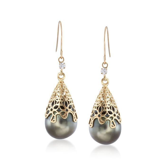 11-12mm Black Cultured Tahitian Pearl Drop Earring With Diamonds in 14kt Yellow Gold, , default