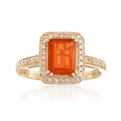 Fire Opal and .21 ct. t.w. Diamond Ring in 14kt Yellow Gold, , default