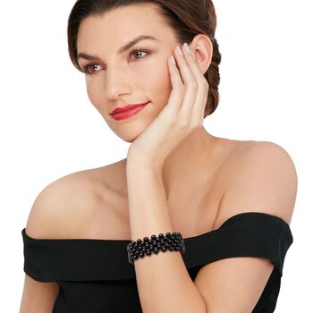 Black Agate Bead Stretch Bracelet, , default