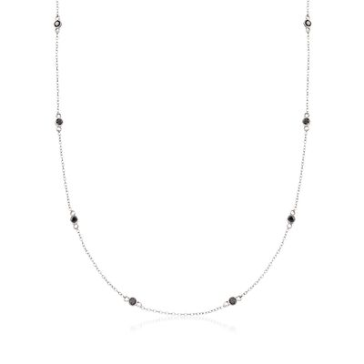 1.00 ct. t.w. Bezel-Set Black Diamond Station Necklace in Sterling Silver, , default
