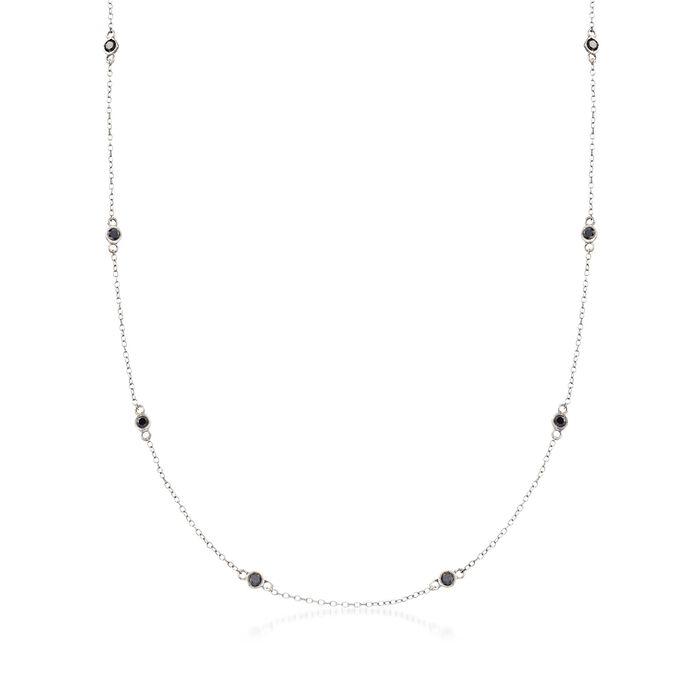 "2.00 ct. t.w. Bezel-Set Black Diamond Station Necklace in Sterling Silver. 36"", , default"