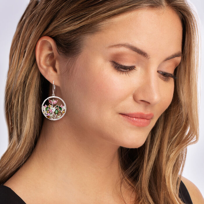 6.90 ct. t.w. Multicolored Tourmaline and 1.10 ct. t.w. White Zircon Open-Space Floral Drop Earrings in Sterling Silver